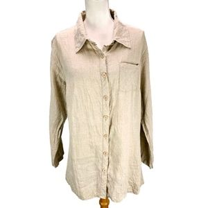 Flax Linen Button Blouse Oatmeal Lagenlook Size Me